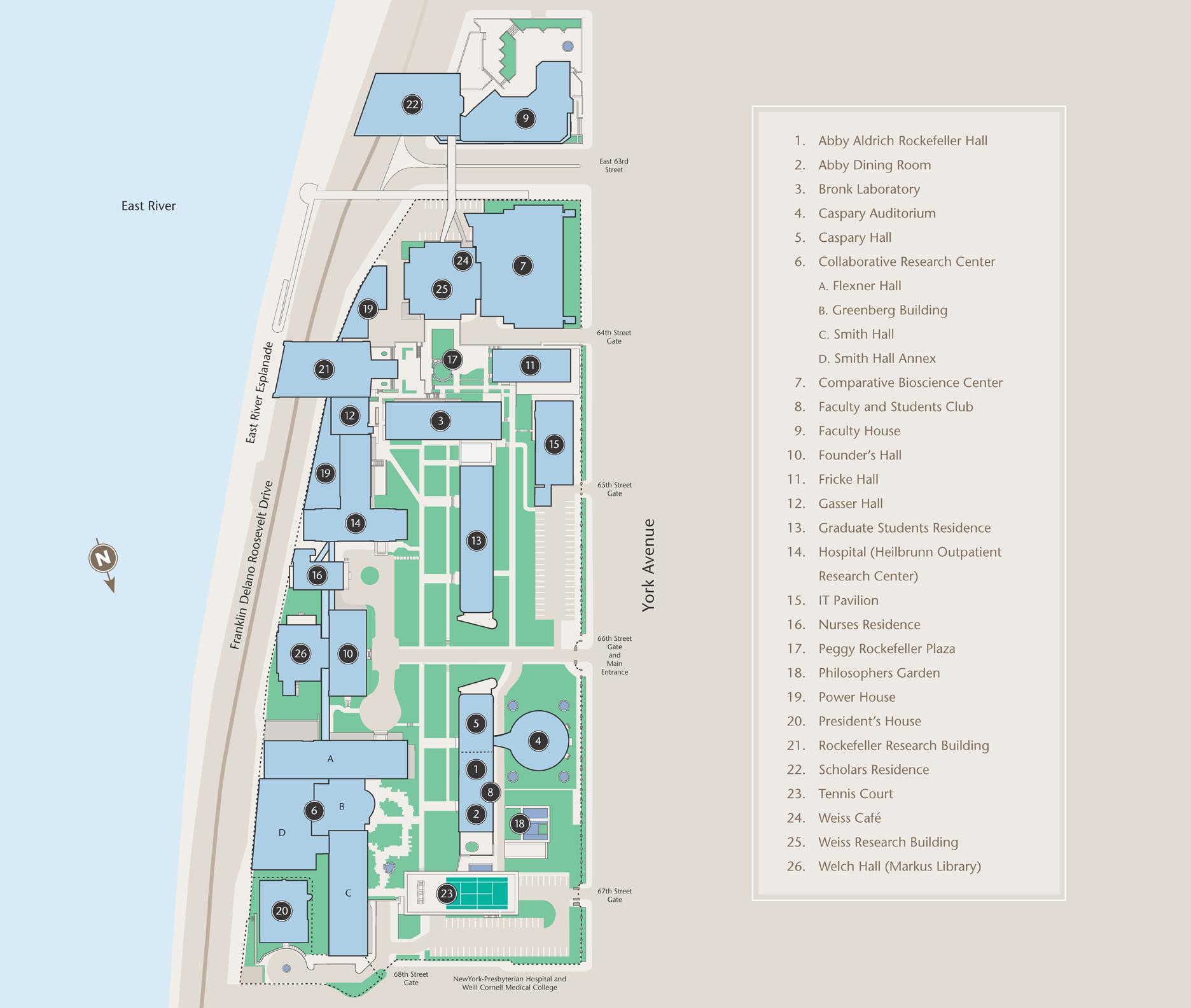 Rockefeller University Campus Map.Rockefeller University Map Rockefeller Rockefeller University