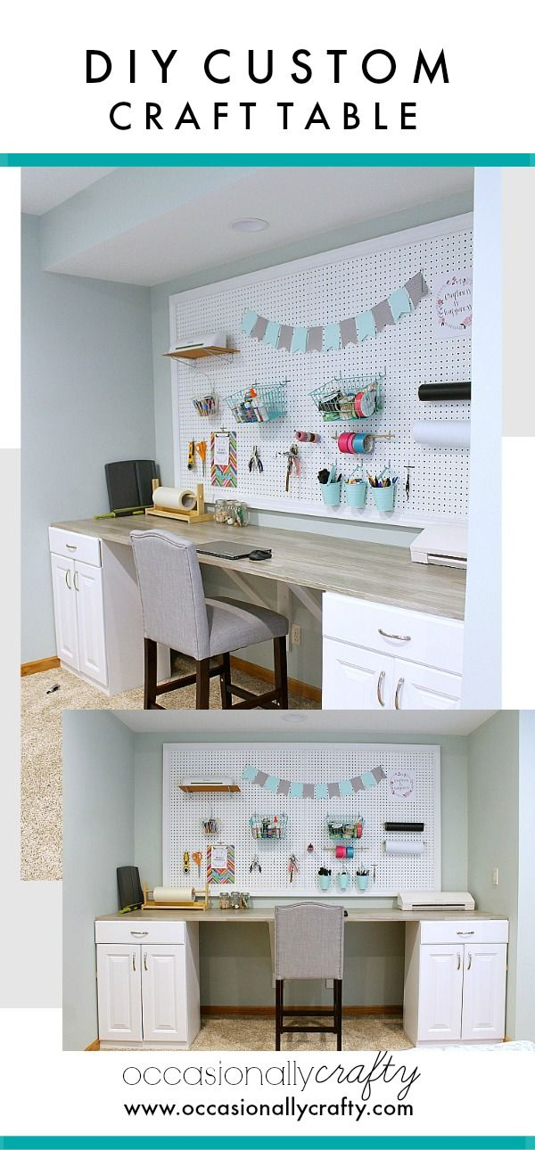 Superbe Desks · DIY Custom Craft Table  Made With Stock Cabinets ...