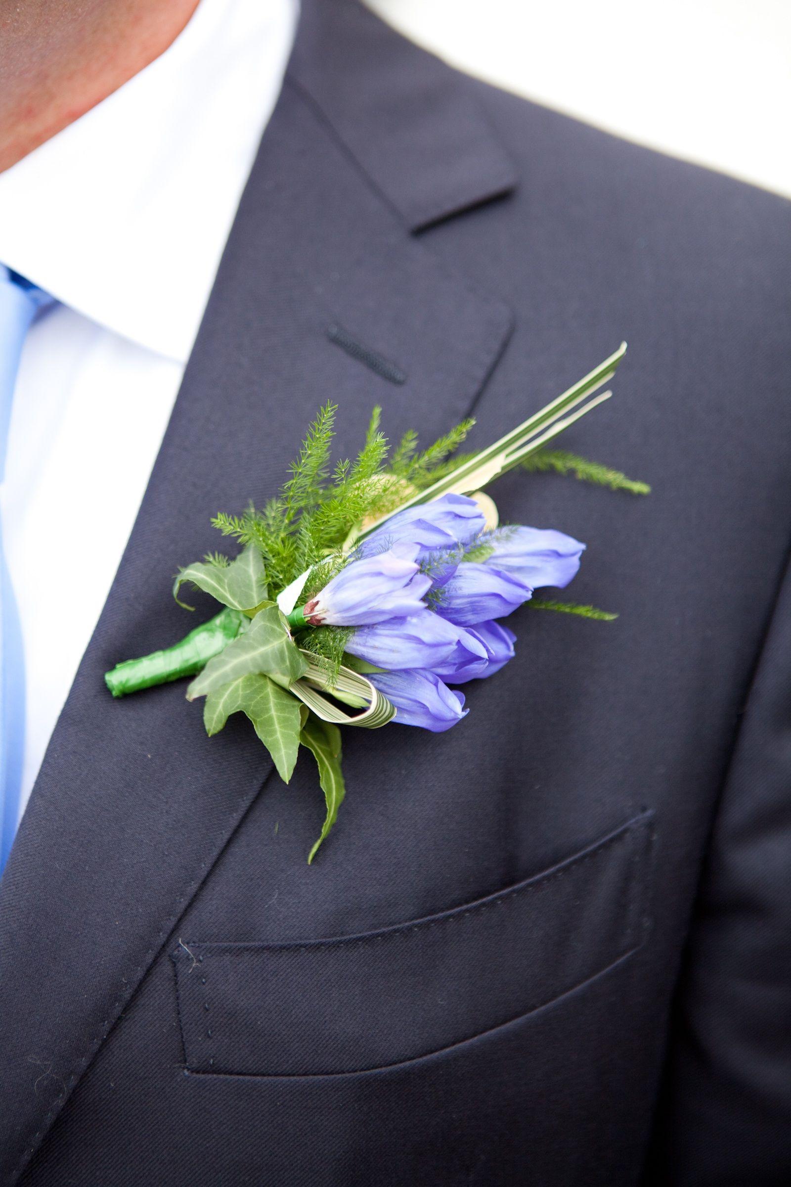 A Gentian Onhole Onholes Flowers Groom Wear Bride Wedding