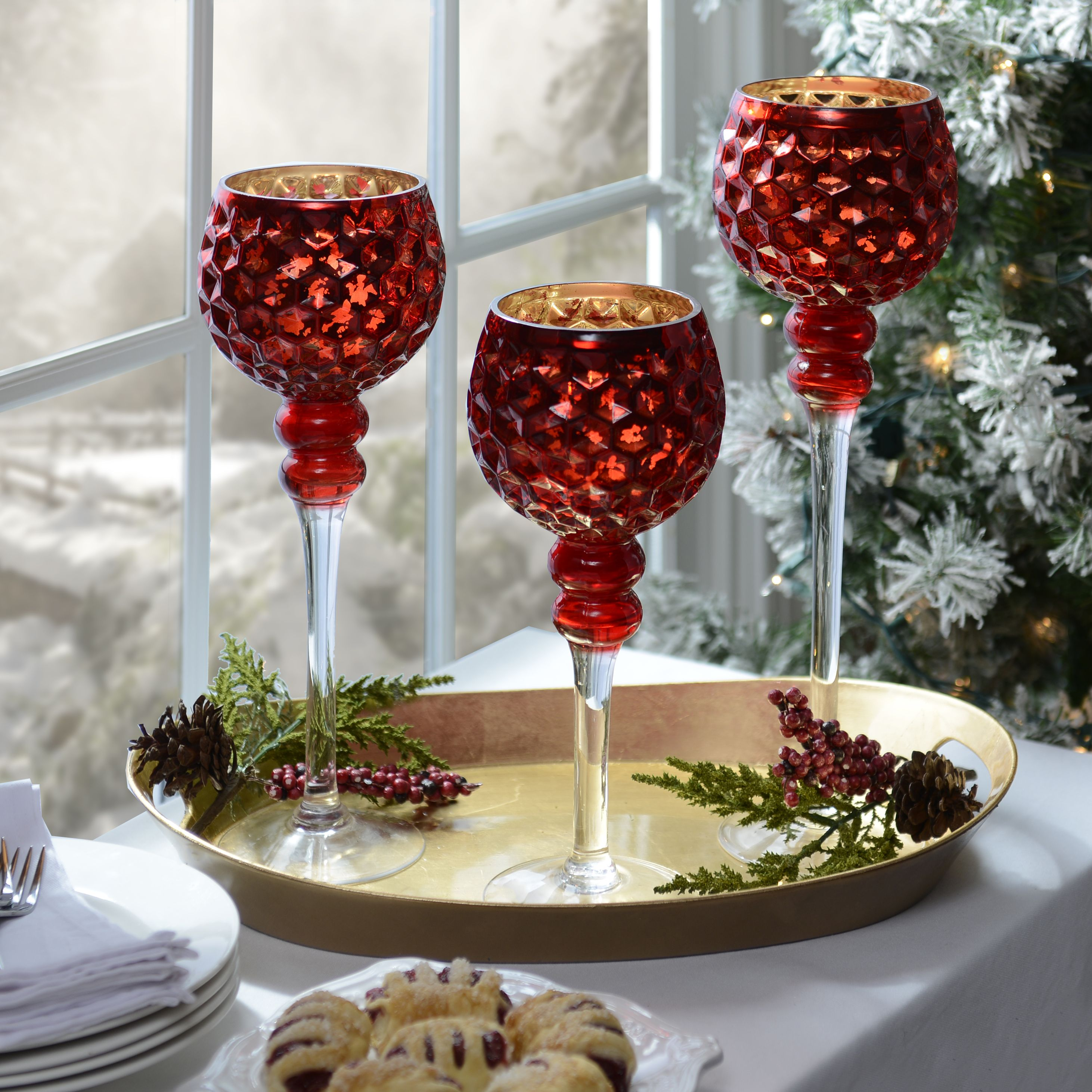 It S Time To Prep For The Most Festive Holiday Of The Year And What Better Time To Shop Christmas Styles Th Kirkland Home Decor Red Centerpieces Christmas Tea