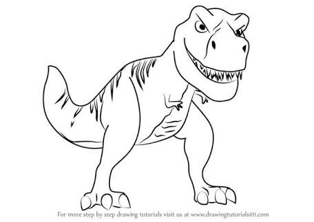 How To Draw Cartoon T Rex