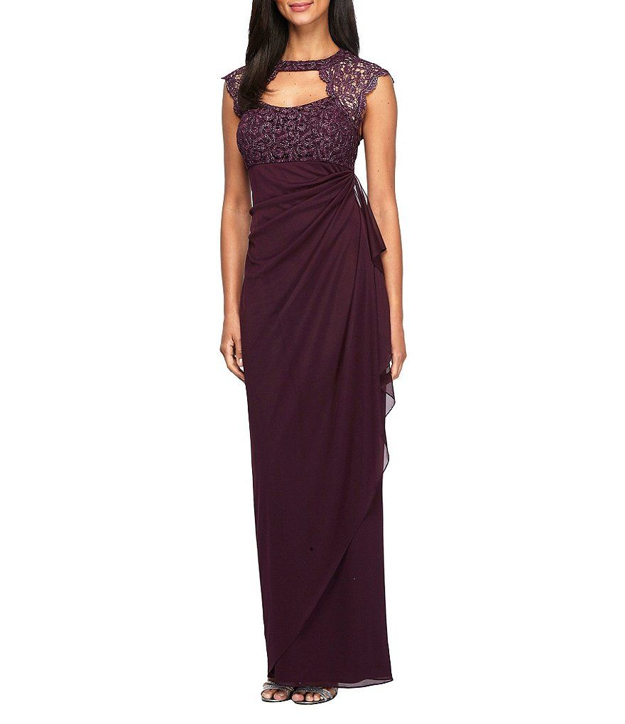 Alex evenings capsleeve openback laceyoke gown mother of the