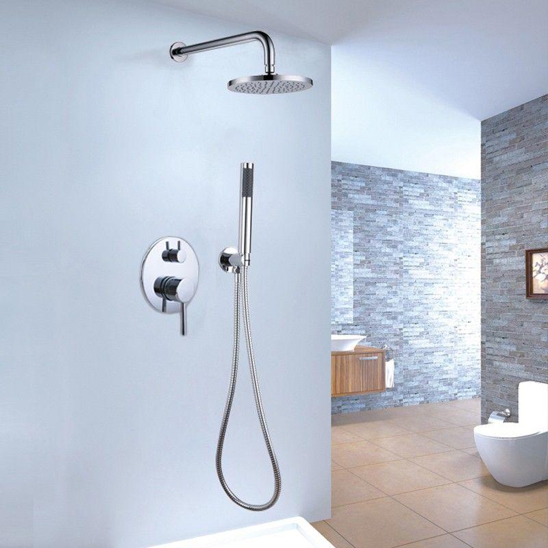 Brewst Brass Rain Hand Shower Mixer Set Shower Systems Bathroom Shower Design Bathroom Shower Faucets Shower system with hand shower