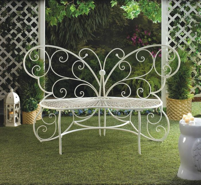 Gartenbank Weiß Metall Schmetterling