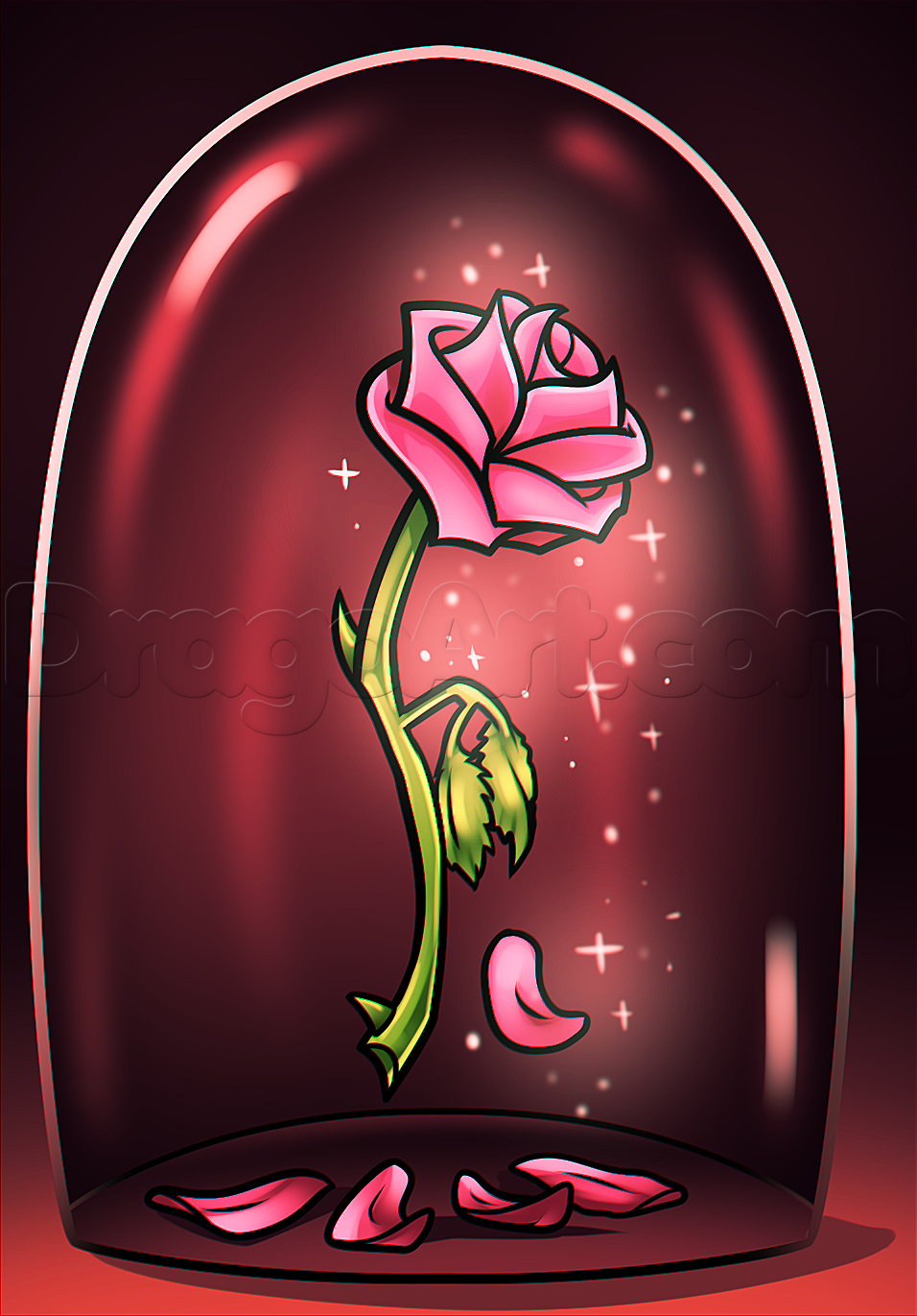 Beauty And The Beast Rose Drawing Step By Step Disney Characters Cartoons Draw Cartoon Char Beauty And The Beast Drawing Rose Drawing Beauty And Beast Rose