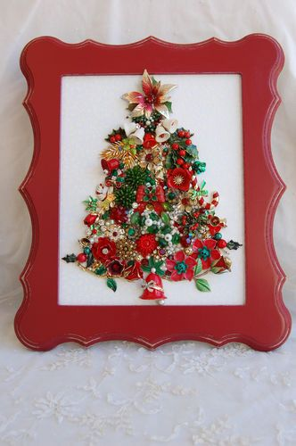 Vintage Jewelry Framed Christmas Tree Traditional Red Green Glam | eBay