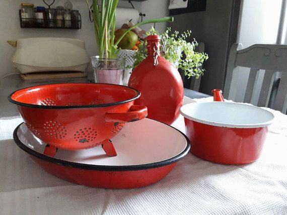 Set of 4 red VINTAGE enameled kitchen utensils