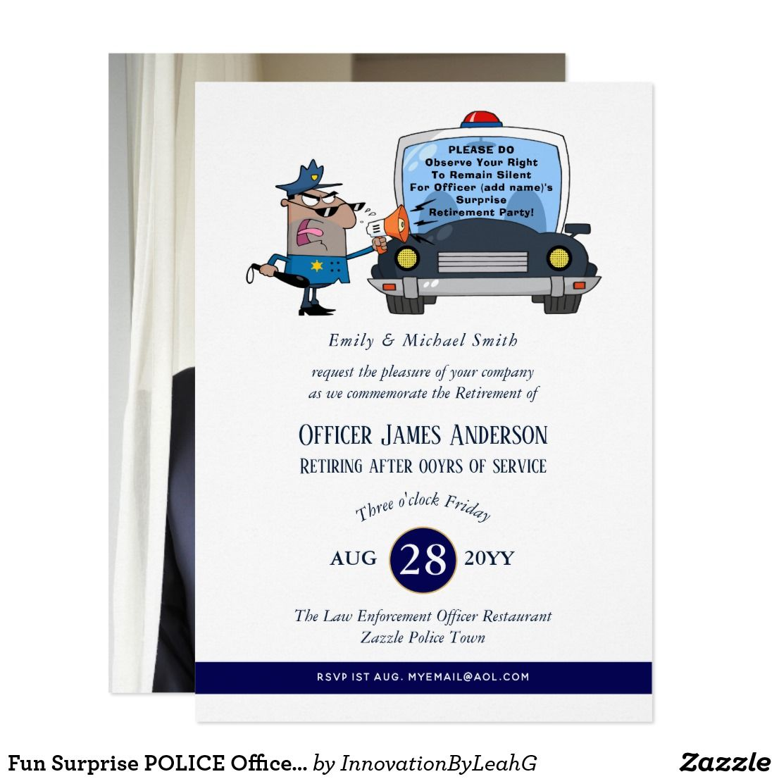 Surprise Retirement Police Officer Party Funny Invitation Zazzle