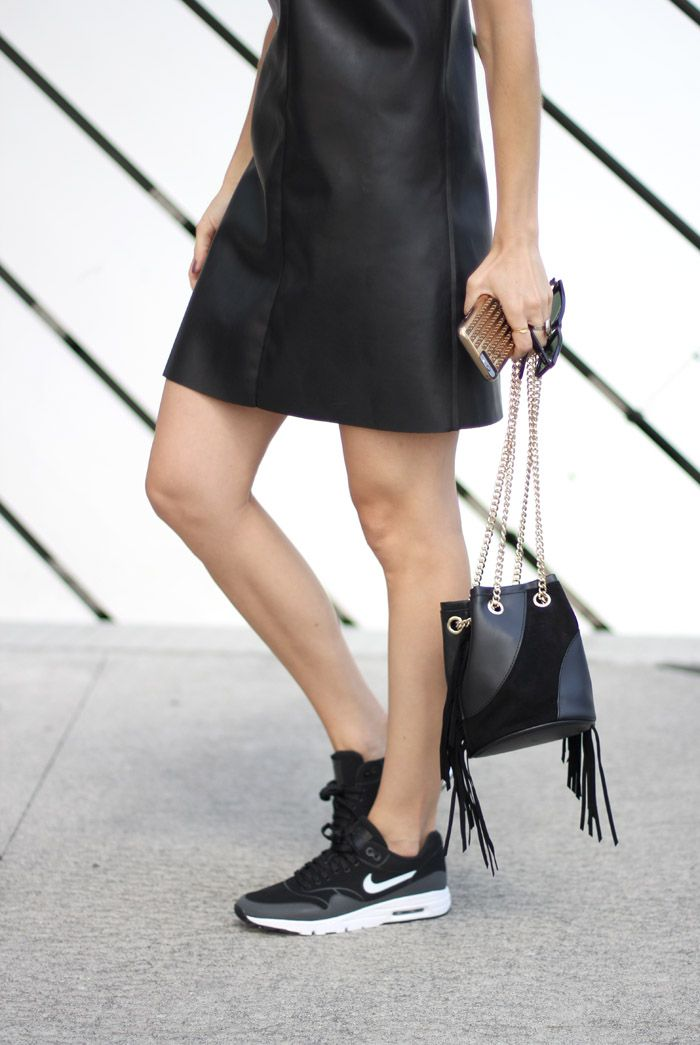 Faux Leather Black Slip Dress with Sneakers: Nike Air Max