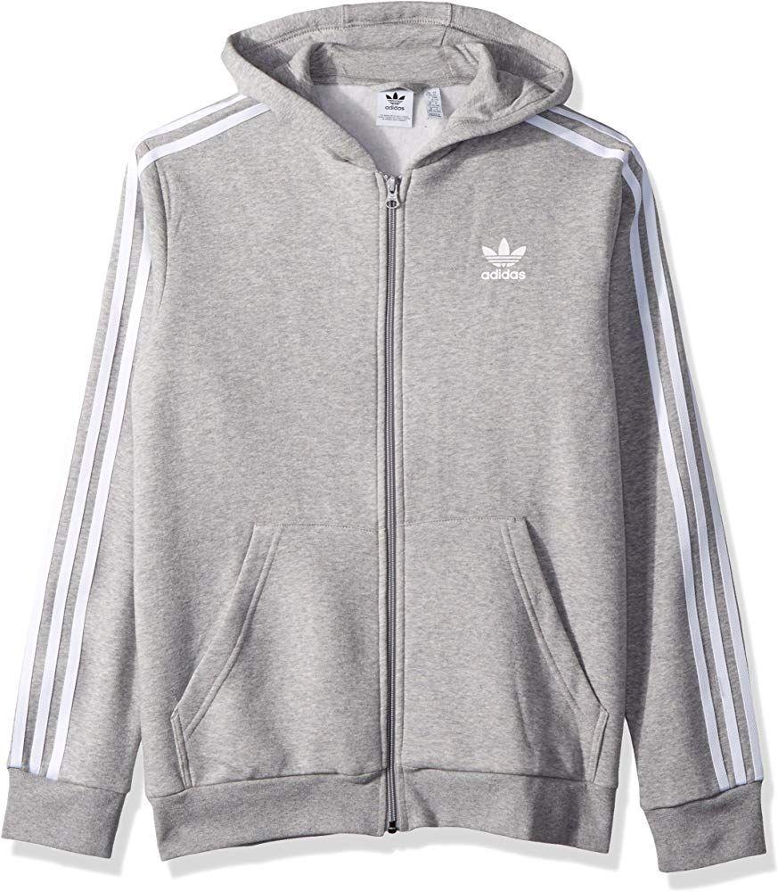 Adidas Originals Boys Little Trefoil Full Zip Hoodie Medium Grey Heather White Xs Adidas Sweater Full Zip Hooded Sweatshirt Hooded Sweatshirts [ 1000 x 873 Pixel ]