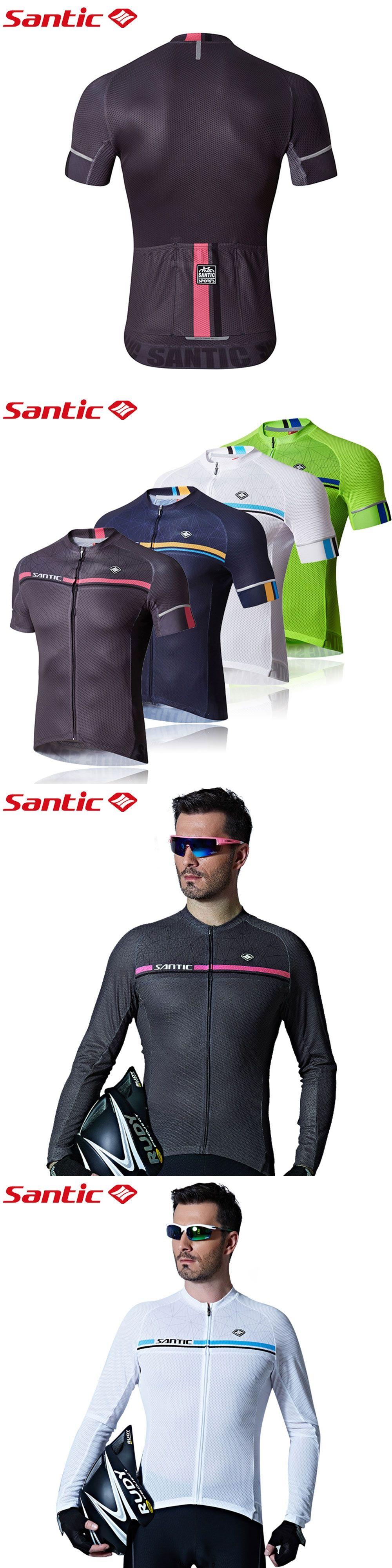 23fbee455 Santic Men Cycling Short Jersey Pro Fit Antislip Sleeve Cuff Road Bike MTB Short  Sleeve Four