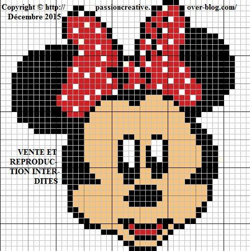Grille gratuite point de croix : Minnie portrait 2 | Point de croix, Croix et Le point