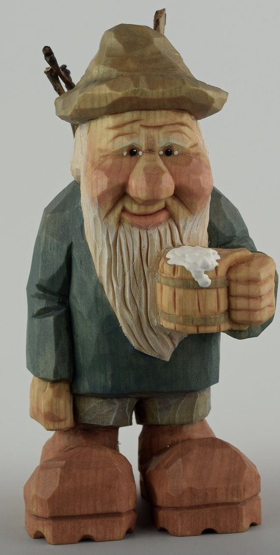 Gnome elf wood carving hiker backpack beer mug holz