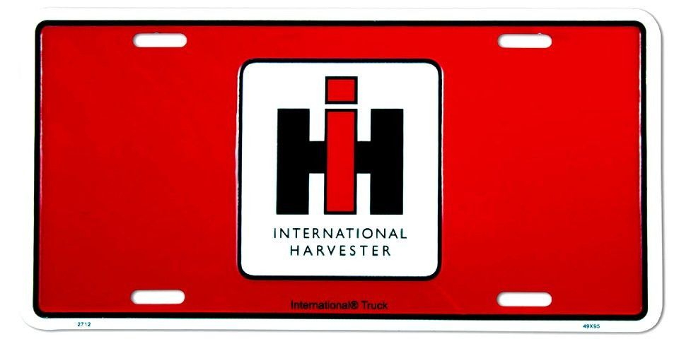 Ih Logo Red License Plate International Harvester International