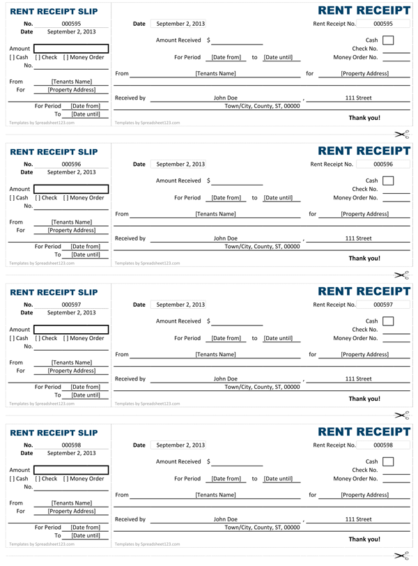 Basic rent receipt book style Rent Receipt Template – Rental Receipt Form