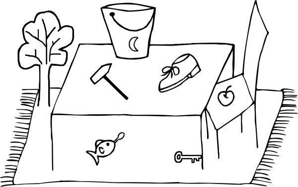 Artikelszene. Zeichne eine (interaktive) Szene mit Dingen, die alle ...
