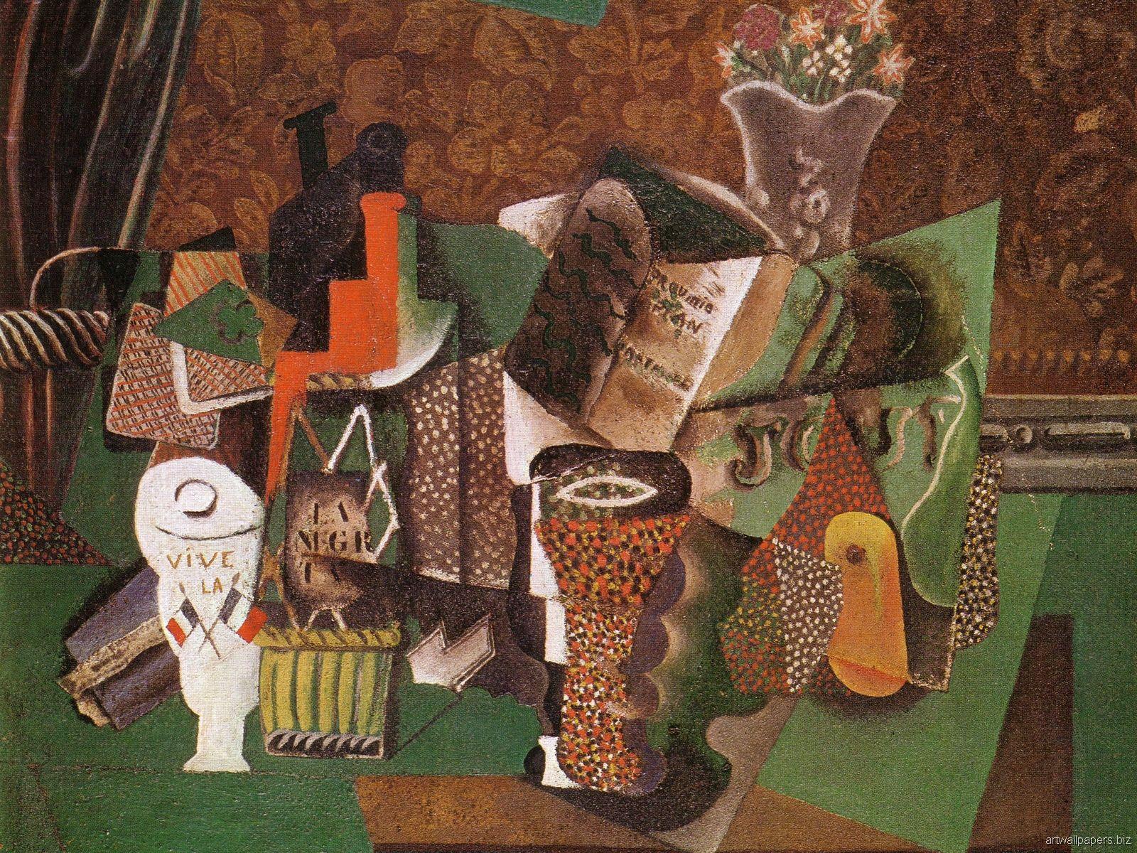 Pablo Picasso - Bottle of black rum (Vive la France)