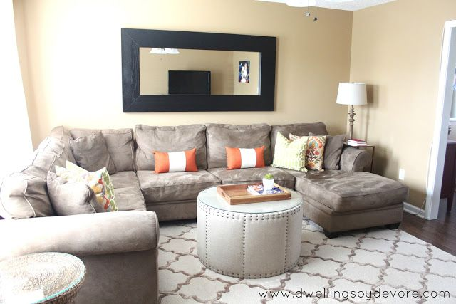 Making Sectionals Work Small Spaces Mirror Above Sectional Living Room Sofa