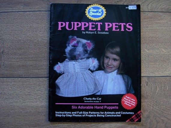 This book is in good condition and the patterns are uncut. There is some wear on the book. Patterns for 6 adorable hand puppets.  Patterns for