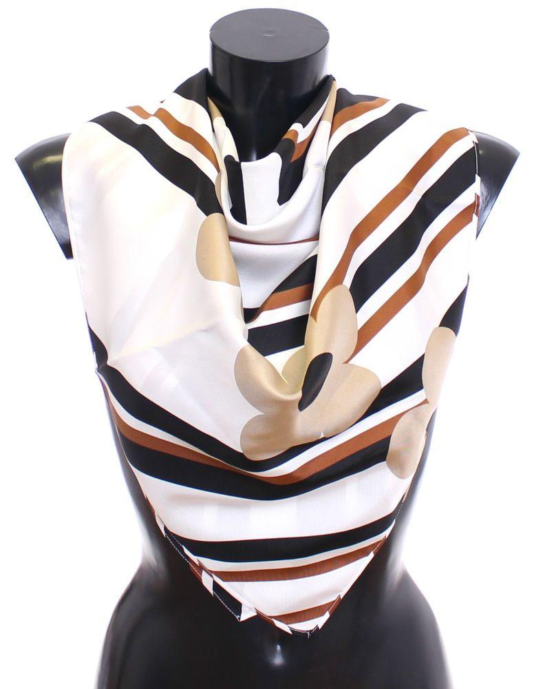 Nwt 300 Dolce Gabbana Scarf Women S White 100 Silk Wrap Beige Black Floral Womens Scarves Scarf Designer Silk Scarves