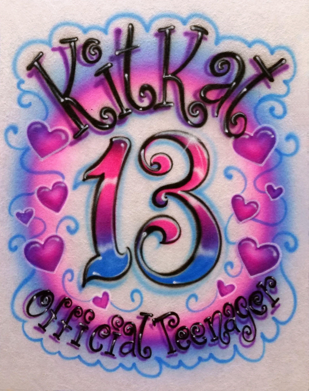 word art picture personalised gift present keepsake 13th birthday teenager