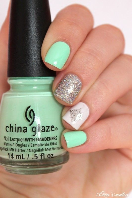 Nailpolis Museum of Nail Art | Neon mint skittlette by Cocosnailss ...