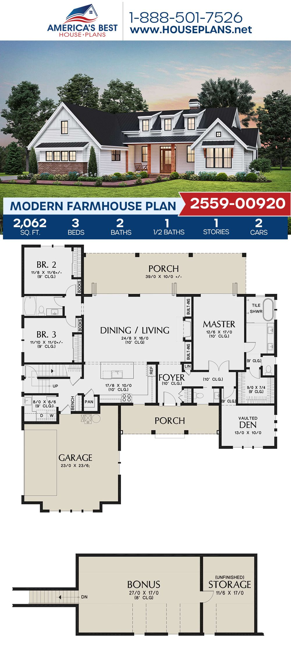 House Plan 2559 00920 Modern Farmhouse Plan 2 062 Square Feet 3 Bedrooms 2 5 Bathrooms Modern Farmhouse Plans Farmhouse Plans House Plans