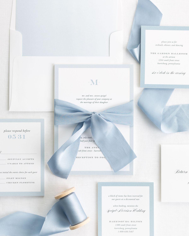 Upscale Monogram Ribbon Wedding Invitations In 2021 Wedding Invitation Ribbon Powder Blue Wedding Baby Blue Weddings