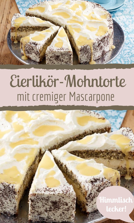 Cremige Eierlikör-Mohntorte mit Mascarpone #foodanddrink