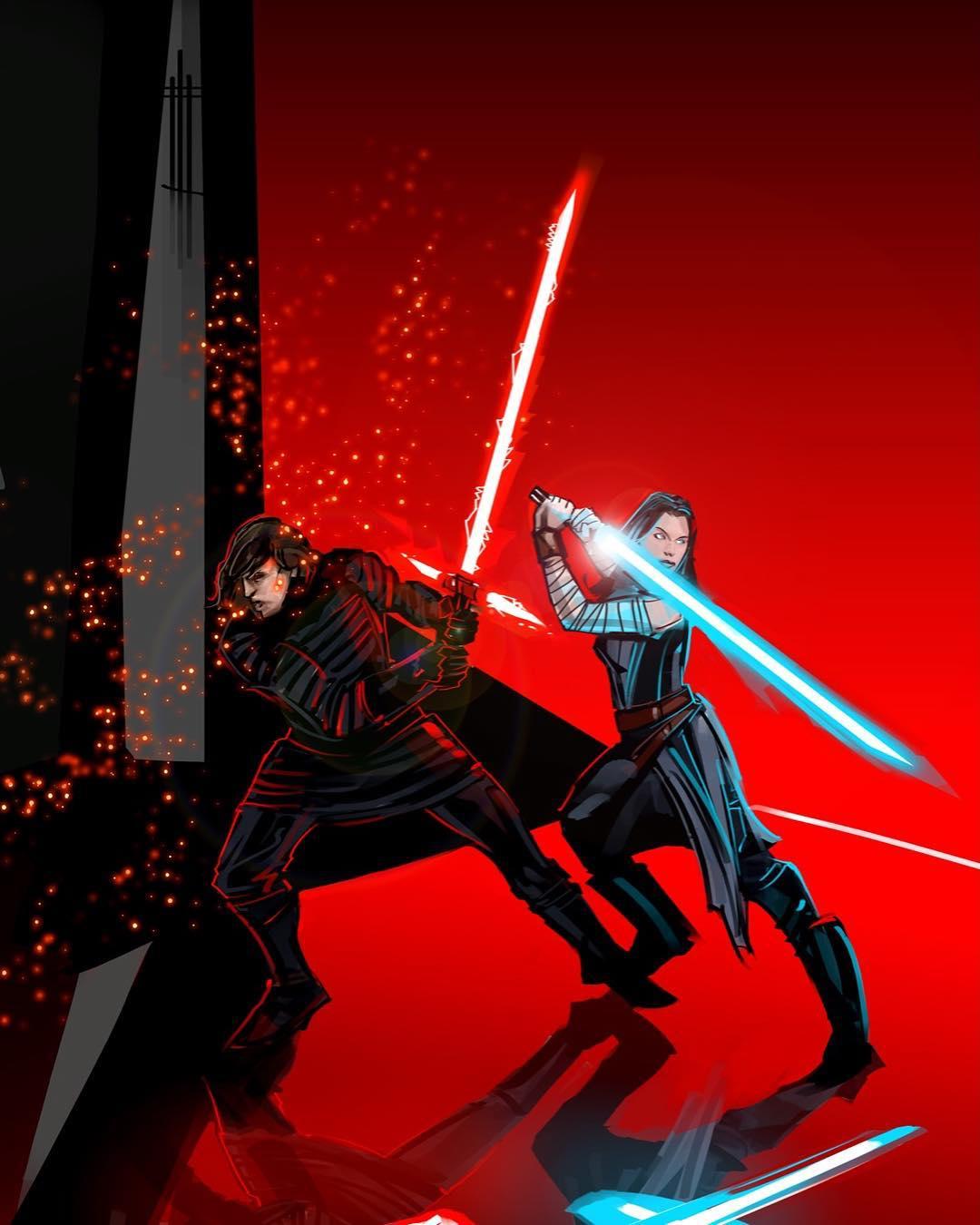 Kylo Ren Rey Fight Snoke S Praetorian Guards Star Wars The Last Jedi Star Wars Art Star Wars Episodes Star Wars Facts