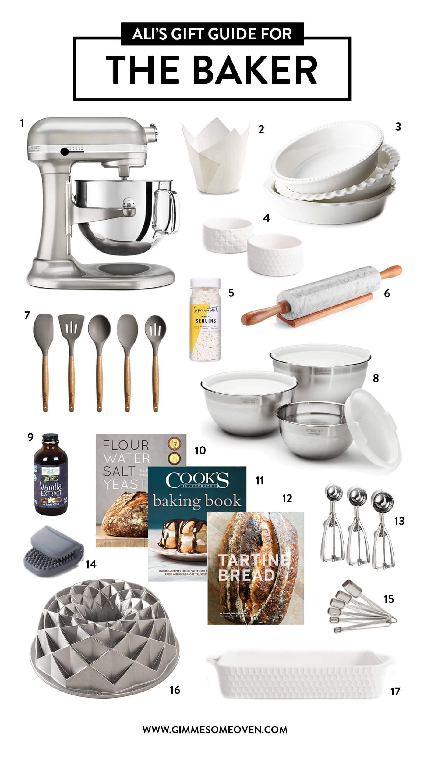 Holiday Gift Guide For THE BAKER | Lots of fun gift ideas for friends who love baking, cooking, entertaining, hosting, meal prep, gathering people in the kitchen and around the table. | gimmesomeoven.com #gift #guide #home #decor #tabletop #baking #kitchen