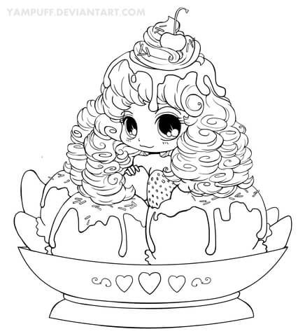 Chibi Ice Cream Girl Coloring Page Chibi Coloring Pages Cute
