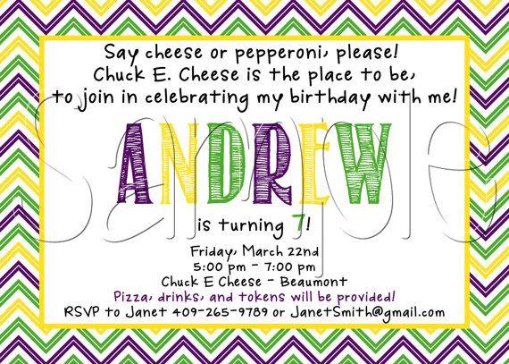 Custom Printable Chuck E Cheese Inspired Birthday Party Invitation