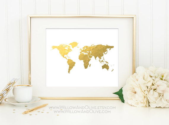 World map faux gold foil art print gold world map gold map art world map faux gold foil art print gilded art imitation gold leaf travel gumiabroncs Images
