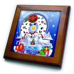 """Adorable baby harp seals bringing presents for you this Christmas holiday - 8x8 Framed Tile by Dream Essence Designs. $22.99. Cherry Finish. Keyhole in the back of frame allows for easy hanging.. Dimensions: 8"""" H x 8"""" W x 1/2"""" D. Solid wood frame. Inset high gloss 6"""" x 6"""" ceramic tile.. Adorable baby harp seals bringing presents for you this Christmas holiday Framed Tile is 8"""" x 8"""" with a 6"""" x 6"""" high gloss inset ceramic tile, surrounded by a solid wood frame with predrilled k..."""