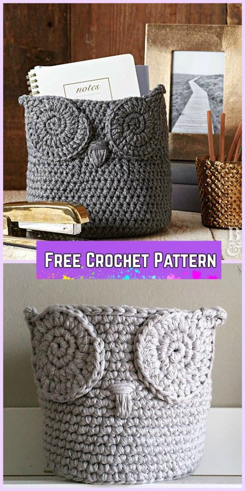 Crochet Owl Basket Free Patterns | Häckeln, Häkelideen und ...