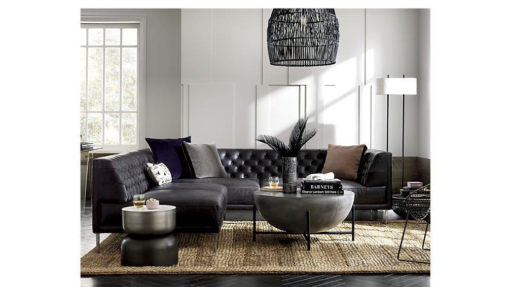 Savile Black Leather Tufted Sectional Sofa | Tufted sectional sofa ...