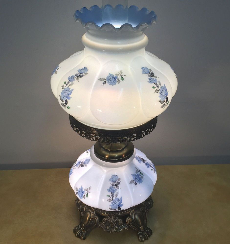 Gone With The Wind Parlor Lamp Electric Oil Hurricane Student Gwtw Rare Vtg  Blue  Ebay