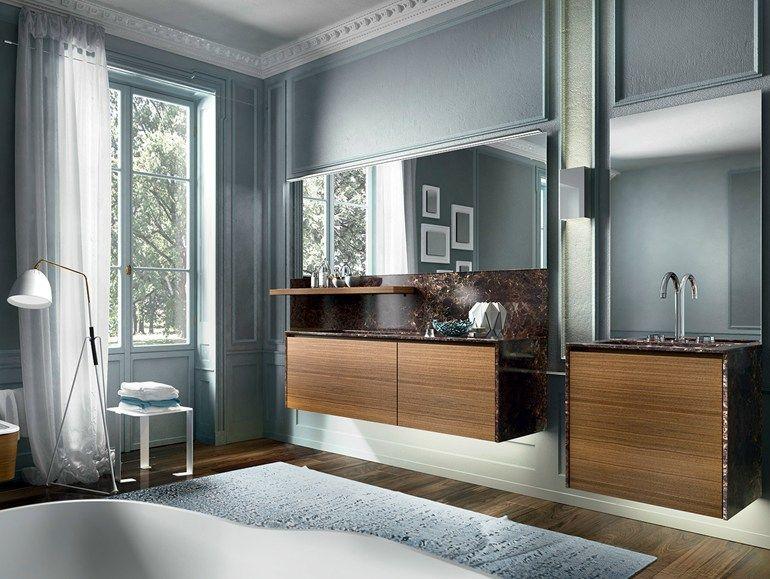 Mobile lavabo sospeso in noce con specchio EOS 335 Collezione Eos ...