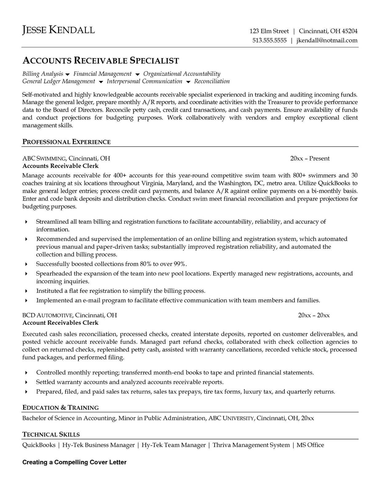 Resume Examples Accounts Payable Resume Templates Accounts Receivable Job Application Cover Letter Resume Examples