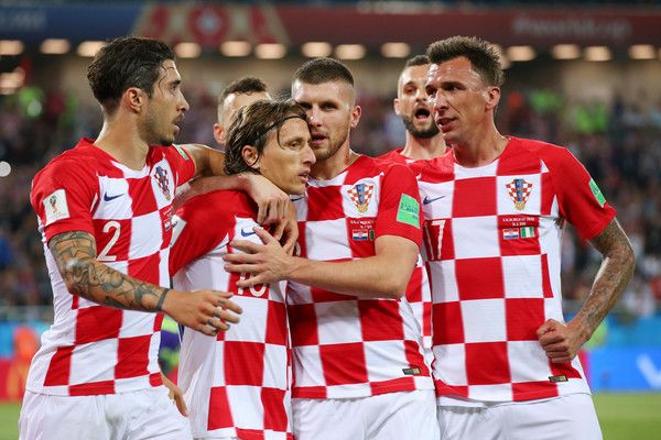 Luka Modric of Croatia celebrates with teammates after scoring a penalty for his team's second goal the 2018 FIFA World Cup Russia group D match between Croatia and Nigeria at Kaliningrad Stadium on June 16, 2018 in Kaliningrad, Russia.
