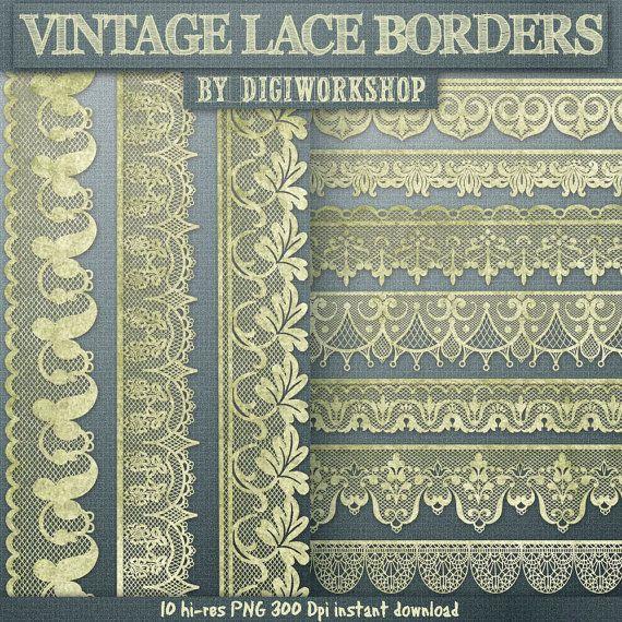 Lace borders clipart Vintage Lace borders clip art от DigiWorkshop, $4.80