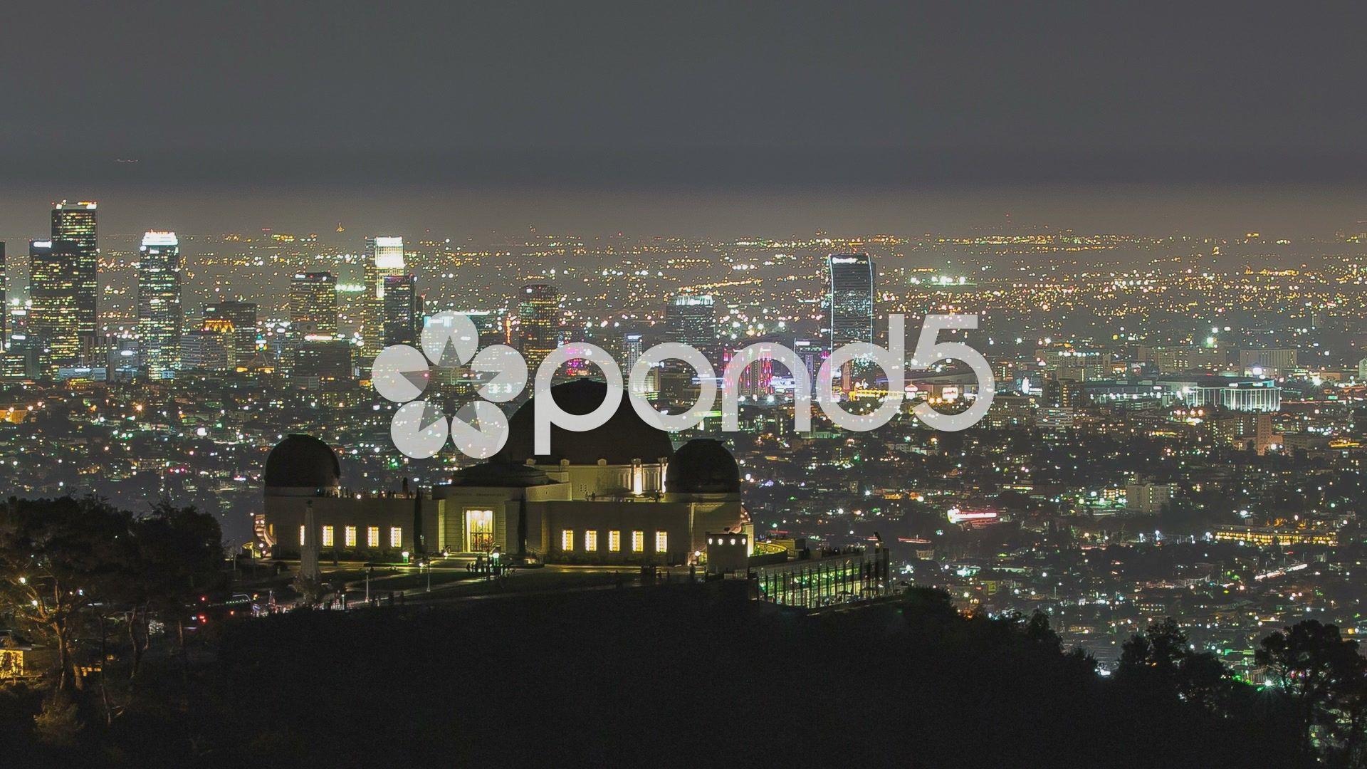 Los Angeles Night City Skyline Timelapse Pan To Downtown Stock Footage City Skyline Night Los Night City City Skyline City