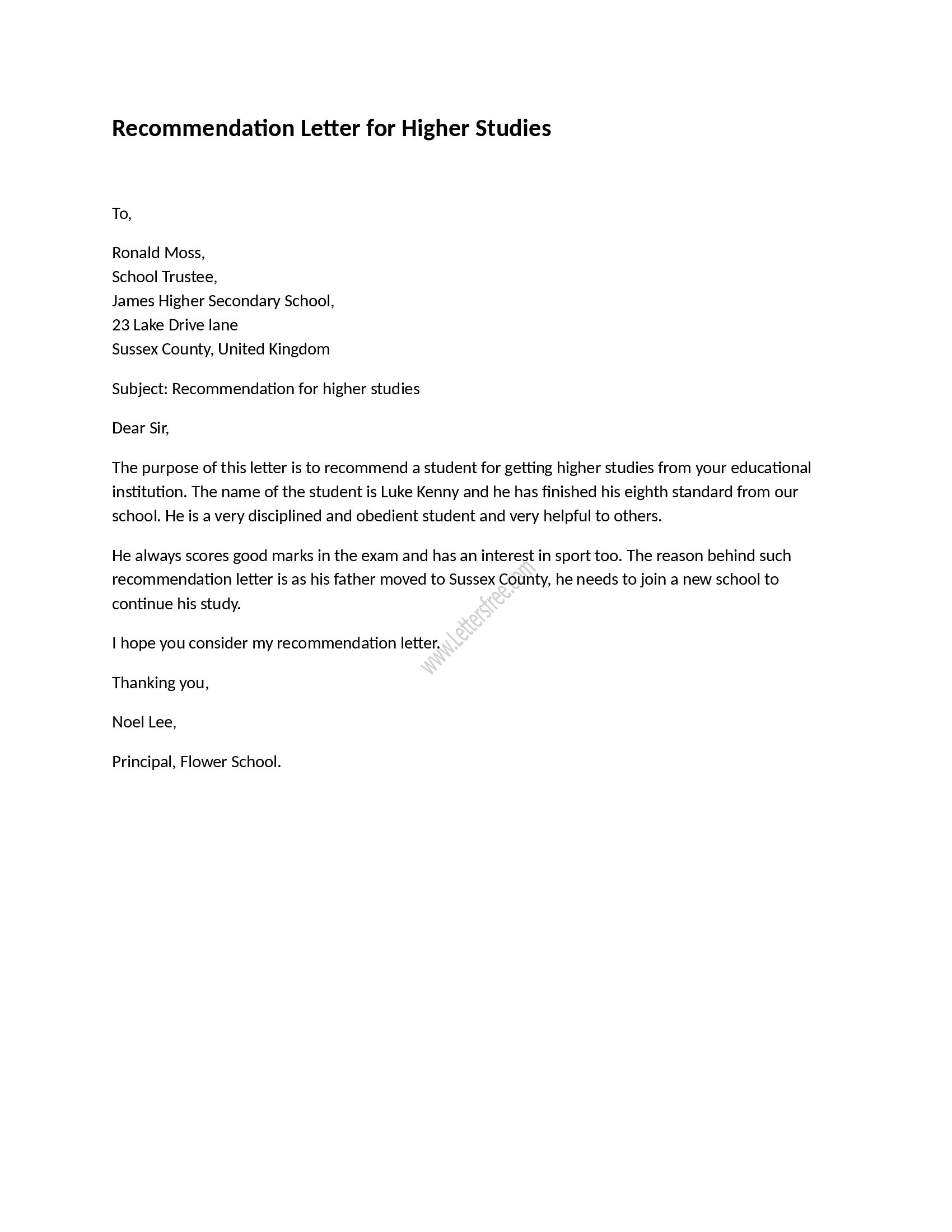 recommendation letter sample for high school student free