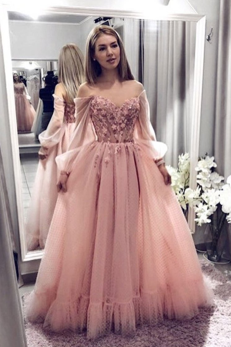 Blush pink prom dresses with long sleeves a line elegant