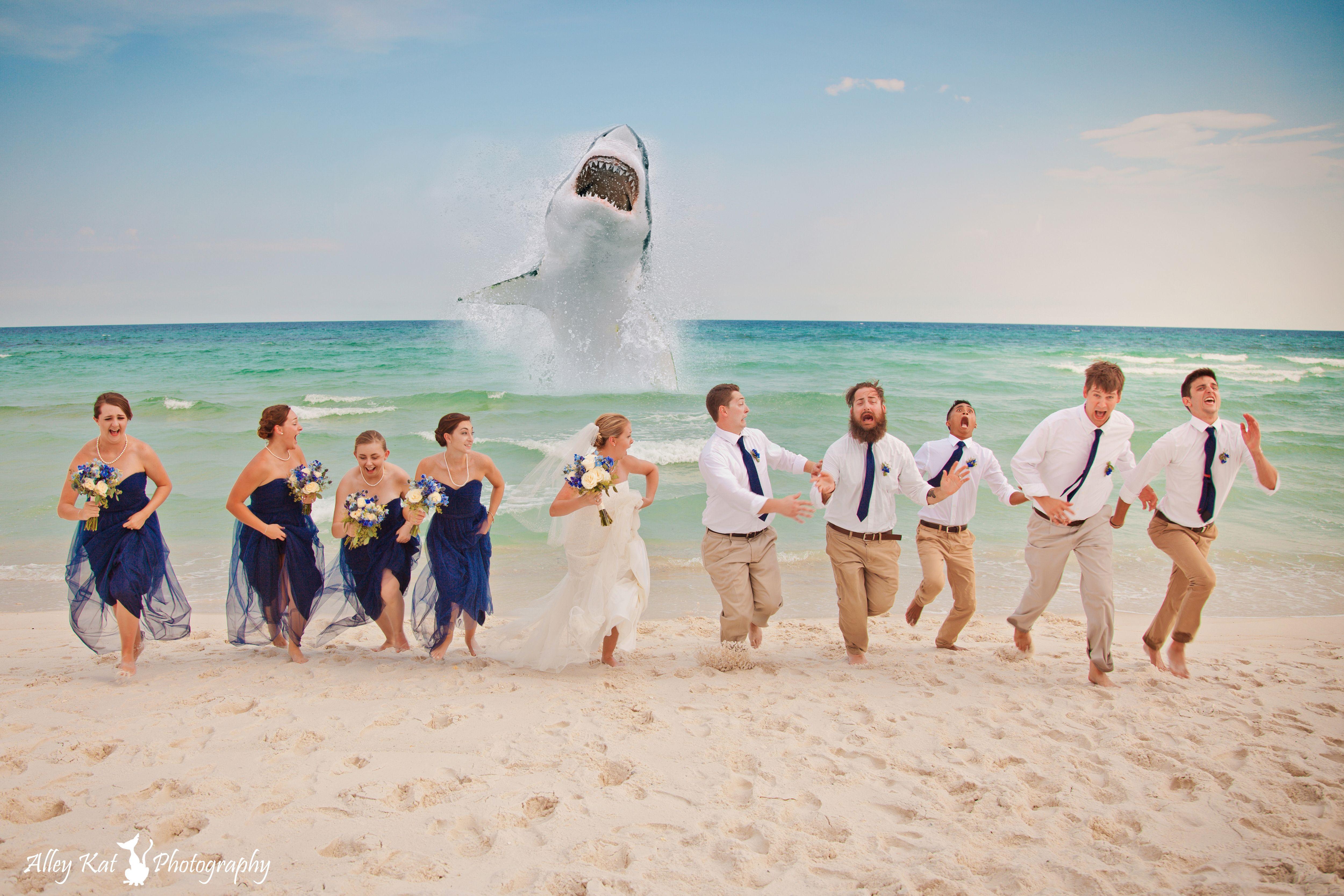 Beach bridal party running from Jaws gulf coast beach