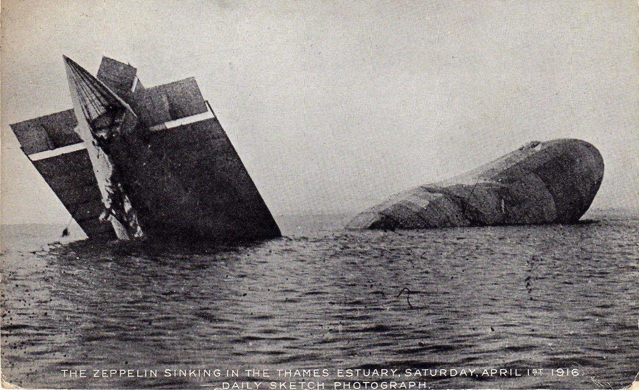 zeppelins Zeppelins In Ww1 WWI Zeppelin sinking in the
