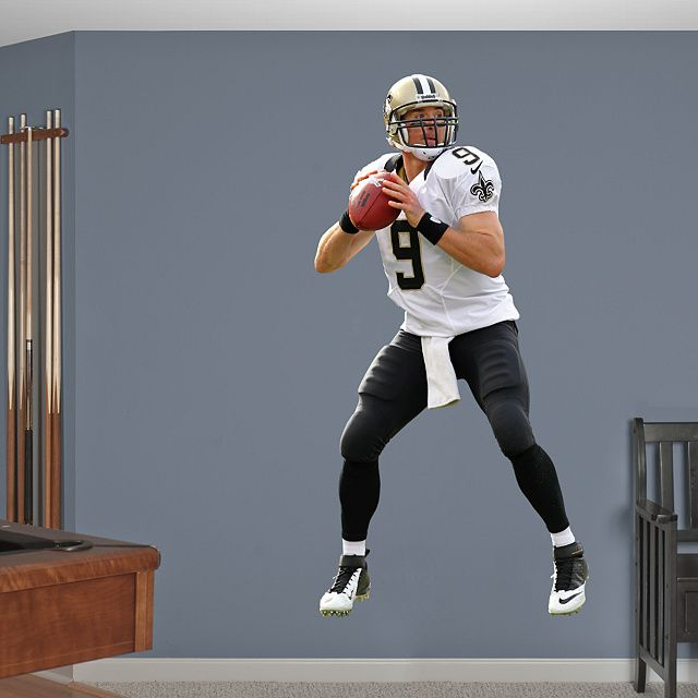 Drew Brees - No. 9 REAL.BIG. Fathead Wall Graphic | New Orleans ...