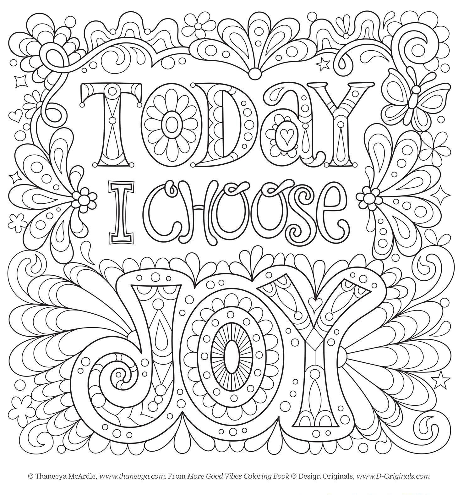 Today I Choose Joy Free Coloring Page By Thaneeya