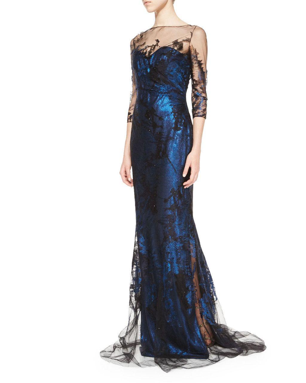 7ac336c8abb RENE RUIZ 3 4-Sleeve Illusion Lace Gown Cobalt Black  1